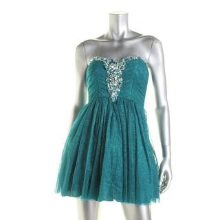 B. Darlin Womens Juniors Strapless Prom Party Dress - 1/2