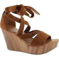 Kenneth Cole Reaction Women's Sole Rise Platform Wedge Sandal Cognac Microsuede