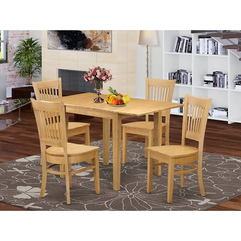 Rectangular Table and Dining Room Chair with Solid Wood Seat and Slat Back (Number of Chairs Option)