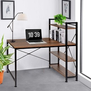 VECELO Computer Desk Home Office Wood  and Metal Contemporary Desk Black