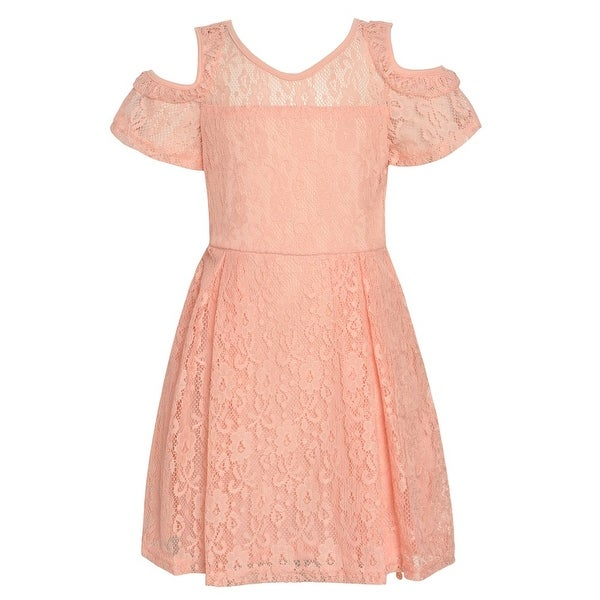 Girls Blush Lace Covered Cold-Shoulder Short Sleeve Easter Dress