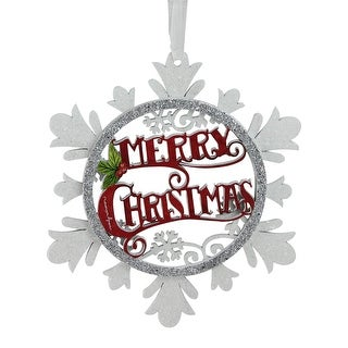 5.5 White and Silver Merry Christmas Glittered Cut-Out Wooden Snowflake Christmas Ornament