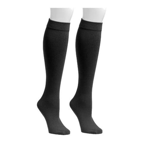 MUK LUKS Women's Fleece Lined 2-Pair Pack Knee High Socks Black/Black