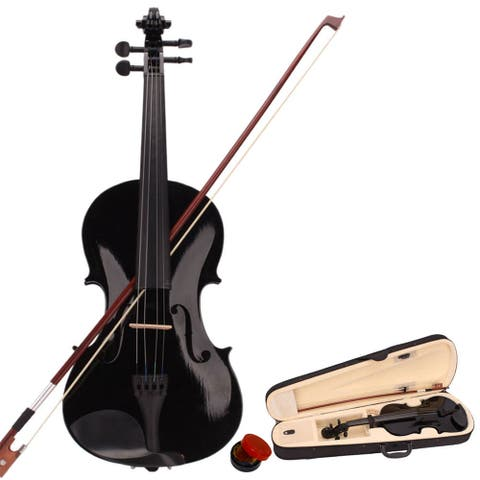 4/4 Acoustic Solid Wood Violin with Hard Case, Bow, Rosin,Black