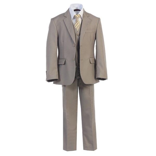Baby Boys Khaki 2 Buttons Formal 5 Pcs Vest Shirt Tie Suit
