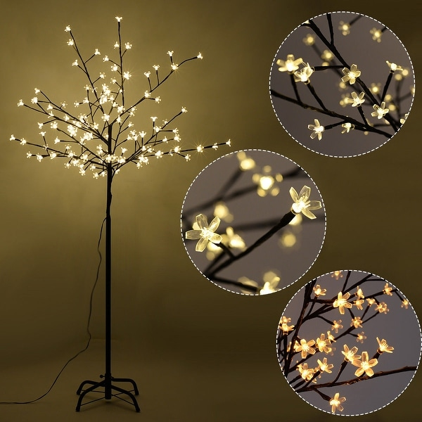 Costway Christmas Xmas Cherry Blossom Led Tree Light Floor Lamp Holiday Decor Warm White Black