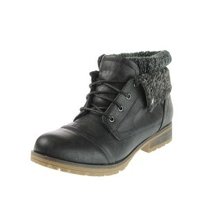 Refresh Womens Wynne Combat Boots Faux Leather Fold-Over - 8.5 medium (b,m)