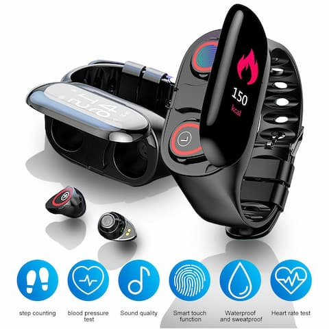 M1 Universal EarBuds & Fitness Tracker[Heart Rate, Blood Pressure, Pedometer] by Indigi® , BT 5.0 Sync, Magnetic Charging Case