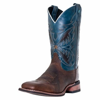 Laredo Western Boots Mens Razor Cowboy Square Toe Brandy Blue