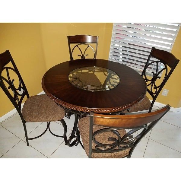 Shop Signature Design By Ashley Glambrey Brown Round Dining Room Table With Glass Insert