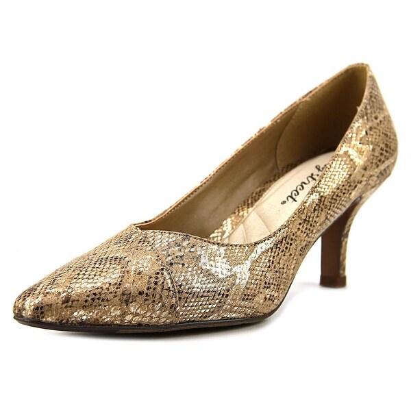 Easy Street Chiffon Women W Pointed Toe Synthetic Gold Heels