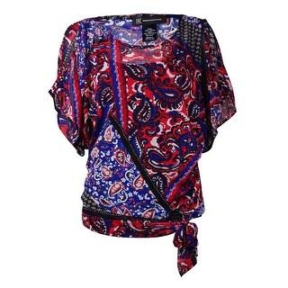 INC International Concepts Women's Tie Waist Printed Top
