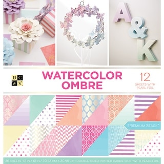 "Dcwv Double-Sided Paper Stack 12""X12"" 36/Pkg-Watercolor Ombre, 12 W/Pearl Foil"