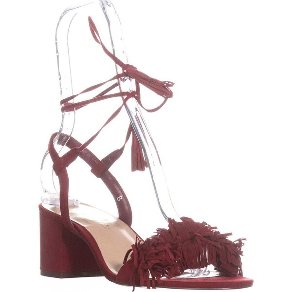 callisto Melz Lace-Up Fringe Sandals, Red Suede - 8 us