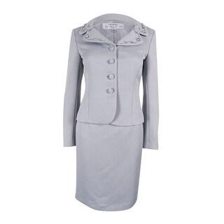 Tahari ASL Women's Embellished Skirt Suit - Granite