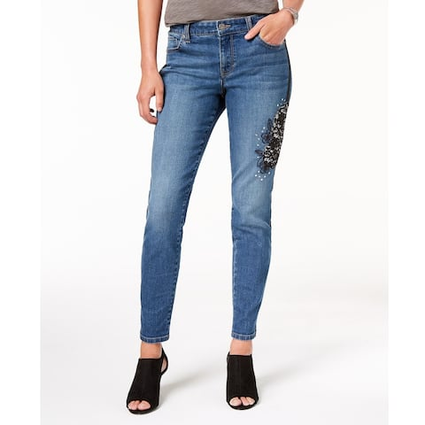 Style & Co Women's Lace Detail Studded Jeans Uptown Size 16 - Blue