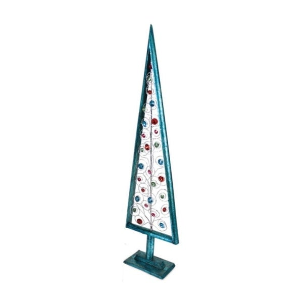 """27"""" Christmas Whimsy Turquoise Blue Holiday Tree with Multi-Colored Jewels"""