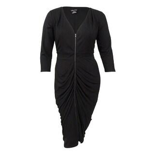 City Chic Women's Trendy Plus Size Front-Zip Bodycon Dress - Black