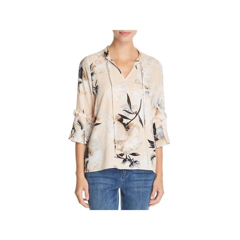 Karl Lagerfeld Womens Blouse Floral Tie Front - S