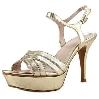 Vince Camuto Paden Women Open Toe Leather Gold Platform Heel