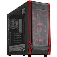 ATX Gaming Computer Case - Black with Red LED