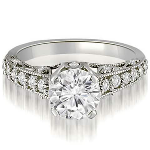 1.25 CT Antique Milgrain Round Diamond Engagement Ring in 14KT Gold - White H-I