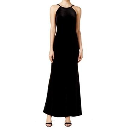 051076010151d Shop Calvin Klein NEW Black Velvet Scoop-Neck Mesh Women's 2 Gown Dress -  Free Shipping Today - Overstock - 18340422