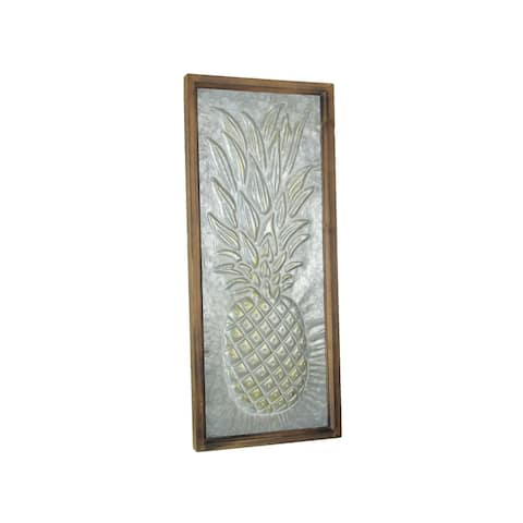 Relief Stamped Tropical Pineapple Galvanized Metal Wall Hanging Wooden Frame