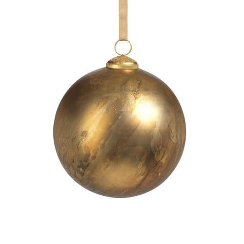 "6"" Rustic Metallic Glass Ball Ornaments, Set of 2"