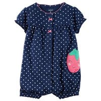 Carter's Baby Girls' Strawberry Snap Up Romper 3 Months - Blue