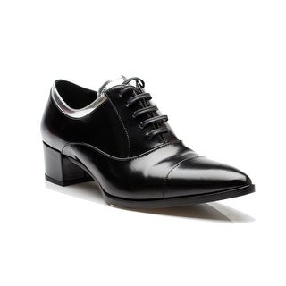 Prada Women's Silver Lined Oxford Heeled Black Shoes