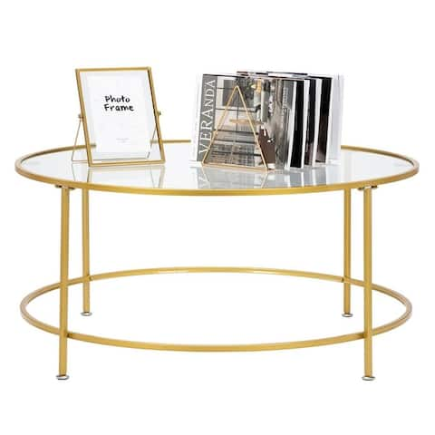 """Modern 36"""" 2 Layers 5mm Glass Top Round Coffee Table Golden"""