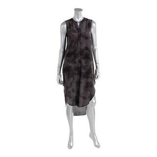 Moon & Meadow Womens Silk Sleeveless Shirtdress