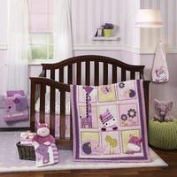 Lambs & Ivy Hopscotch Jungle Pink/Purple Animal, Floral and Butterfly 3-Piece Baby Nursery Crib Bedding Set