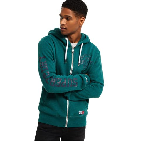 Superdry Men's Trackster Zip-Up Hoodie Sweatshirt Small Jade Marl Grit