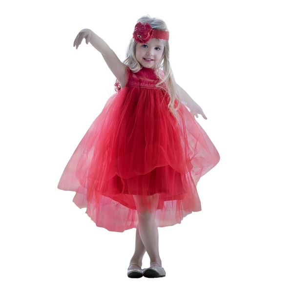 Think Pink Bows Baby Girls Red Lace Ruffle Adrianna Flower Girl Dress 1Y