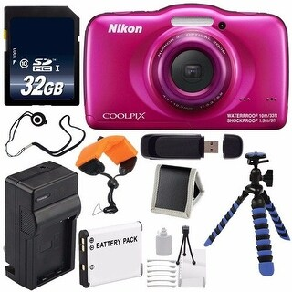 Nikon COOLPIX S33 Digital Camera (Pink) International Model No Warranty + Replacement Battery + 32GB Card Bundle