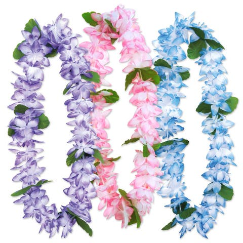 18-Pieces Assorted Colors Island Floral Leis 38""