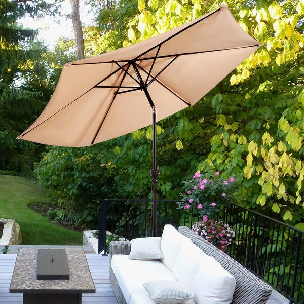 Costway 9ft Patio Umbrella Market Steel Tilt W Crank Outdoor Yard Garden Beige