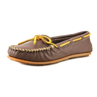 Minnetonka Boat Moc Women Round Toe Leather Slipper