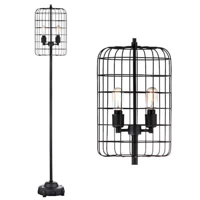"Odette 65"" Industrial Metal Floor Lamp, Black/Silver - 65"" H x 11"" W x 11"" D"
