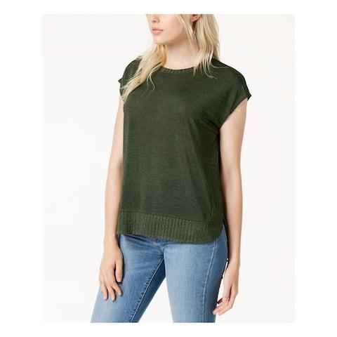 BAR III Womens Green Ribbed Trim Short Sleeve Crew Neck Sweater Size: M