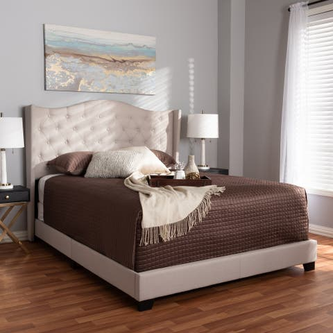 Alesha Modern and Contemporary Beige Fabric Upholstered King Size Bed