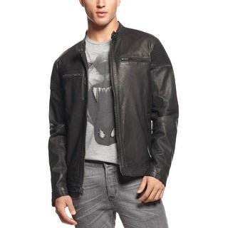 Rogue State Slim Fit Leather Black Jacket X-Large With Ruched Panels