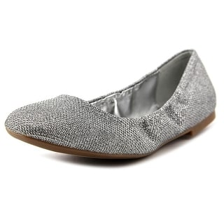 Nine West Girls Nite Women Square Toe Canvas Silver Flats