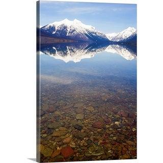 """USA, Colorado, Mountains reflected in lake"" Canvas Wall Art"