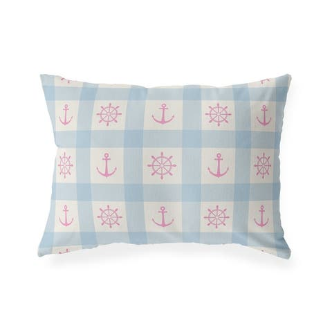 ANCHOR GALORE LIGHT BLUE and PINK Indoor Outdoor Lumbar Pillow by Kavka Designs - 20X14