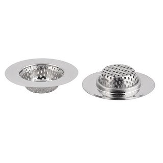 Metal Basin Waste Stopper Sink Drain Filter Strainer 2 Pcs - Silver