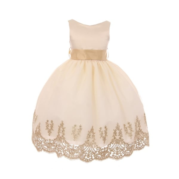 56f9c3f23a793 Chic Baby Little Girls Taupe Gold Lace Embroidered Flower Girl Dress