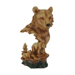 Faux Carved Bear Head and Family Wood Look Statue - 12 X 6.5 X 5.25 inches